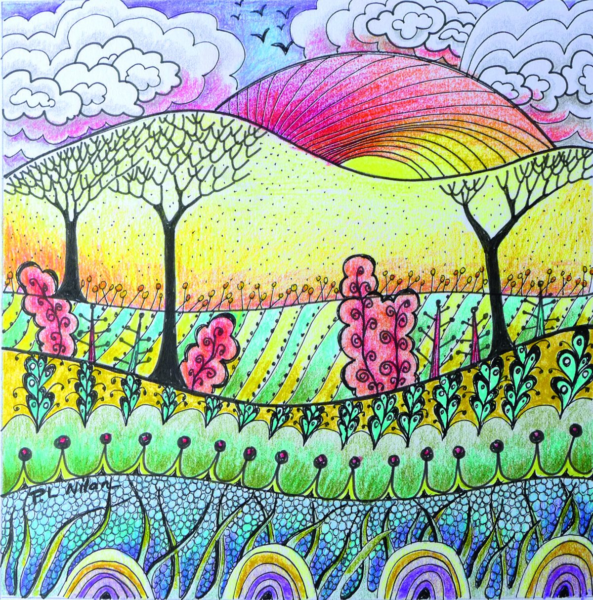 ink and coloured pencil landscape zendoodle